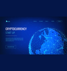Blockchain technology futuristic hud banner with vector
