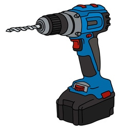 Blue cordless drill vector