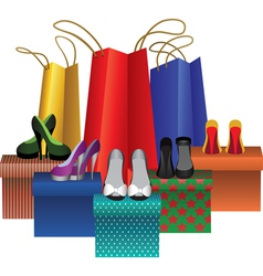 boxes with woman shoes and shopping bags vector image