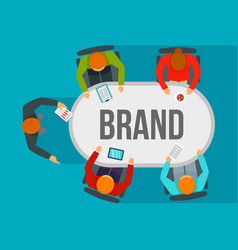 Brand team meeting concept background flat style vector
