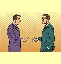 businessmen game rock paper scissors vector image