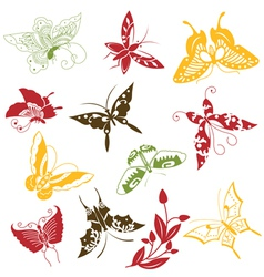 Butterflies ornaments set vector image