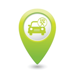 car with tools icon map pointer green vector image