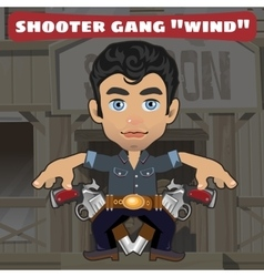Cartoon character in Wild West - shooter gang Wind vector image vector image