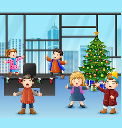 Cartoon of group children singing in the christmas vector
