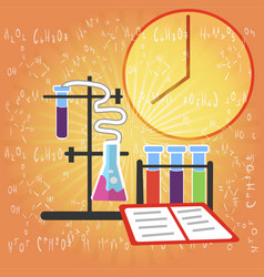 Chemical research equipment on formulas background vector
