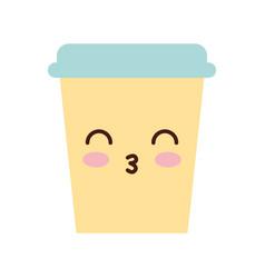 coffee plastic cup kawaii character vector image