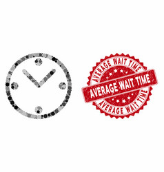 Collage clock with distress average wait time seal vector