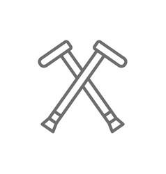 crutches walking sticks crutch line icon vector image