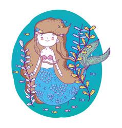 Cute mermaid under sea with seaweed vector