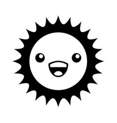 Cute sun kawaii character vector