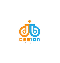 db d b orange blue alphabet letter logo vector image