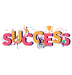 disabled people success typography banner vector image
