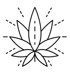 eco cannabis leaf logo outline style vector image