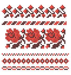 embroidered cross-stitch ethnic ukrainian pattern vector image
