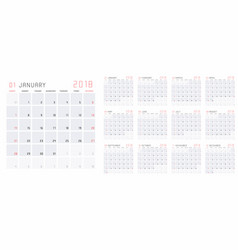 english calendar 2018 vector image