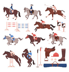 Equestrian sport icons set vector