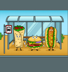 Fast food bus cartoon pop art vector