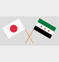 Flags of syrian national coalition and japan vector