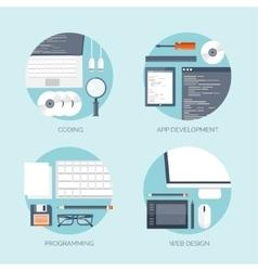 Flat computing backgrounds vector
