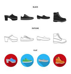 flip-flops clogs on a high platform and heel vector image