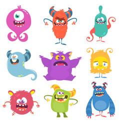 funny cartoon monsters set vector image