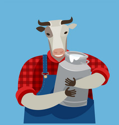 funny cow holding a can fresh milk dairy farm vector image