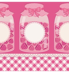 Glass bottles with raspberry jam vector