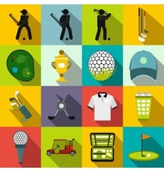 Golf flat icons set vector