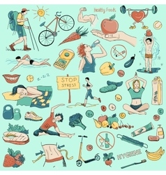 Hand drawn about healthy lifestyle vector image
