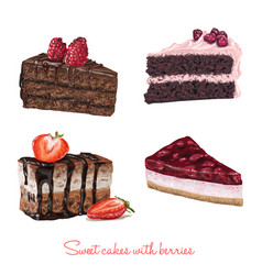 Hand drawn delicious cake slices vector