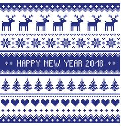 Happy new year 2018 - scandinavian cross stitch pa vector