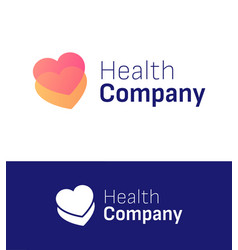 health two hearts symbol for logo company element vector image