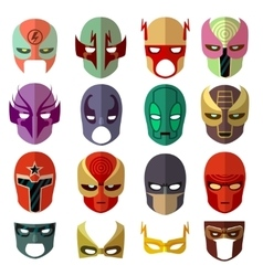 Hero mask characters flat icons vector