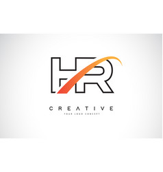 Hr h r swoosh letter logo design with modern vector