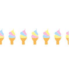 ice cream cone seamless border waffle vector image