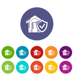 insurance home icons set color vector image