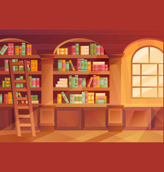 Interior a library with books on shelves vector