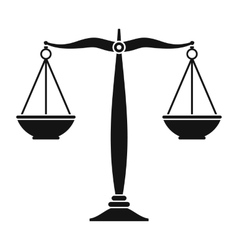 Justice scales black icon vector image