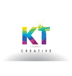 Kt k t colorful letter origami triangles design vector
