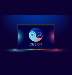 laptop with blue and red illumination vector image