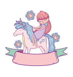 Little unicorn and princess with flowers and vector