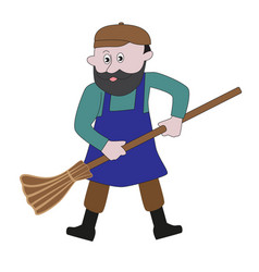 Male janitor with a broom vector