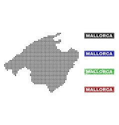 Mallorca map in dot style with grunge name stamps vector