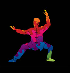 Man kung fu pose ready to fight vector