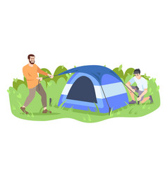 Men setting up camp flat friends campers father vector