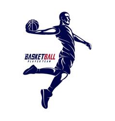 Modern basketball sport silhouette logo template vector