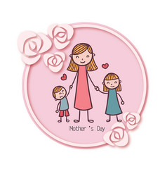 Mothers day mom daughter and son rose circle fram vector