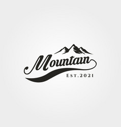mountain adventure lettering logo symbol design vector image