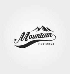 mountain adventure lettering logo symbol design vector image